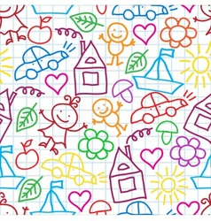 pattern of children drawings vector image
