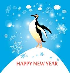 penguin winter vector image