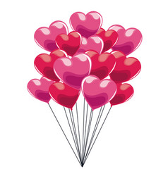 pink bunch balloons heart glossy vector image