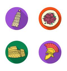 Pisa tower pasta coliseum legionnaire helmet vector