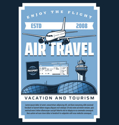 plane airport tickets and passport air travel vector image