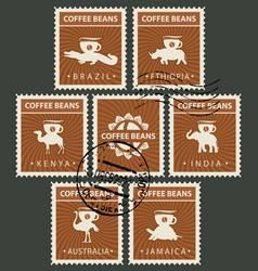 postage stamps on the theme of coffee with animals vector image