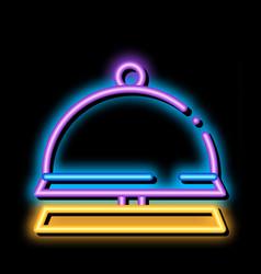 Reception equipment bell neon glow icon vector