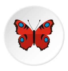 Red butterfly icon flat style vector image