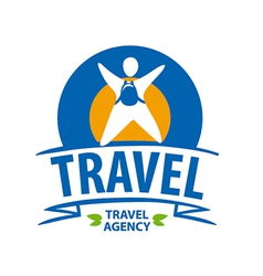 Round logo tourist with a backpack vector