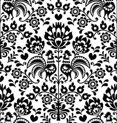 Seamless floral Polish folk pattern - Wycinanki vector