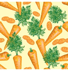 seamless pattern of ripe carrot with leaves vector image