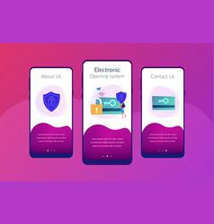 Security access card app interface template vector