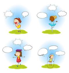 Set kid with speech balloon vector