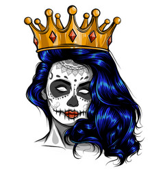 Skull girl with a crown vector
