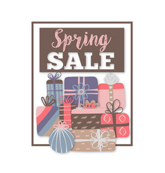 spring sale special offer different gift boxes vector image