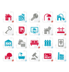 Stylized real estate business icons vector
