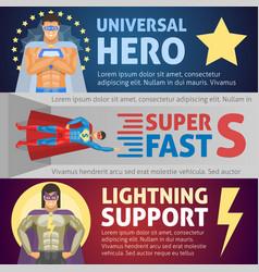 superhero horizontal banners vector image