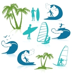 Surfing Icons With People vector image vector image