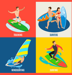 surfing isometric design concept vector image