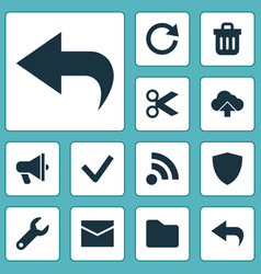 user icons set with feed mail folder and other vector image