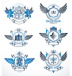 vintage decorative heraldic emblems composed with vector image