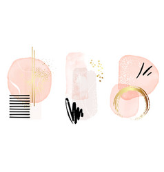 watercolor abstract painting background rose gold vector image