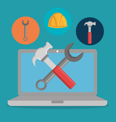 webpage under construction with laptop vector image