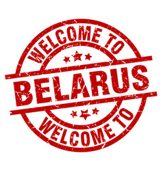 Welcome to belarus red stamp vector