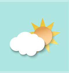 white paper cut cloud and sun 3d paper art style vector image