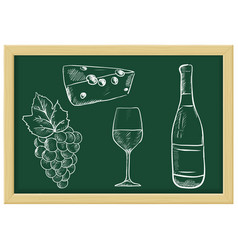 wine set - bottle glass cheese grapes chalk vector image