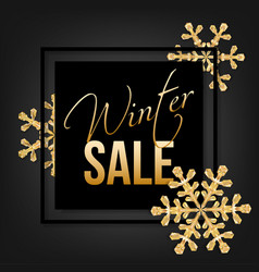 winter sale typographic with golden snowflakes vector image