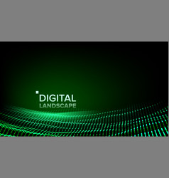 wireframe landscape data technology wave vector image