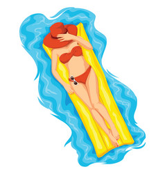 woman sunbathing on pool raft vector image