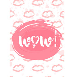 wow lettering with hearts brush pen typography vector image