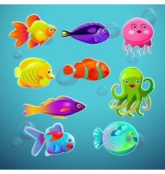 Funny cartoon colorful tropic fishes set vector image vector image