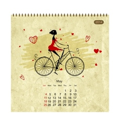 Girls retro calendar 2014 for your design may vector image vector image
