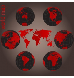 set of earth globes vector image vector image