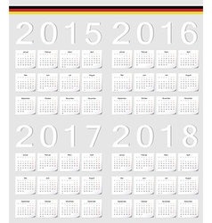 Set of German 2015 2016 2017 2018 calendars vector image