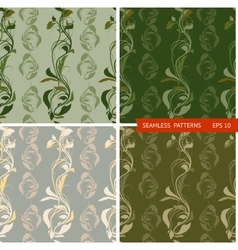 set patterns with branches and leaves vector image vector image