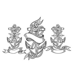 ship anchor tattoo set vector image