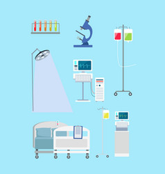 supplies in hospital on blue vector image