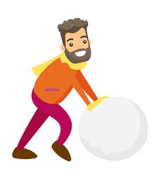 caucasian man making a big snowball for snowman vector image vector image