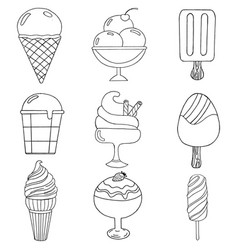 cute hand drawn with different types of ice cream vector image