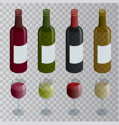 isometric set of white rose and red wine bottles vector image vector image