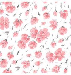 seamless background pattern - pink sakura blossom vector image vector image