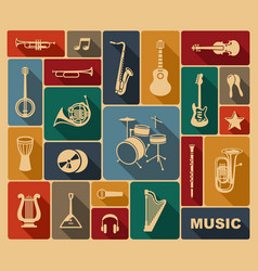 silhouettes of musical instruments vector image vector image