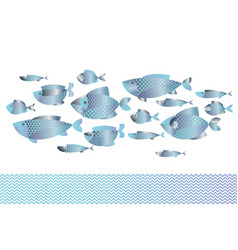 abstract assorted blue silver fish pattern vector image vector image