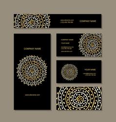 business cards collection golden mandala design vector image