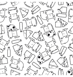 Cute cows with milk and cheese seamless pattern vector image