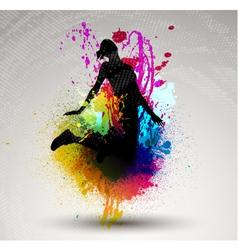 girl jumping over ink splash vector image vector image