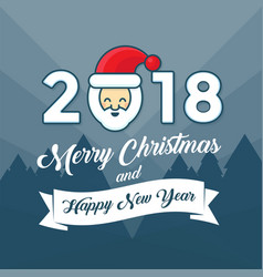 merry christmas and happy new year 2018 year with vector image