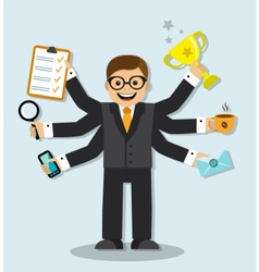very busy businessman vector image vector image