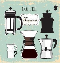 vintage coffee espresso grinder drip set vector image vector image