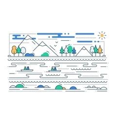 Water tourism - line flat design vector